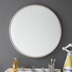 Metal Round Wall Mirror - Brushed Nickel | West Elm