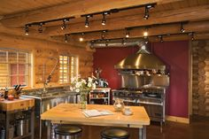 Log Home Kitchen Track Lighting