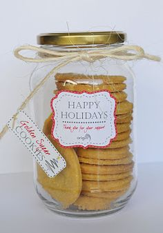 Christmas Gift idea ... filled with yummy cookies. This is a neat idea for those old condiment jars...:)