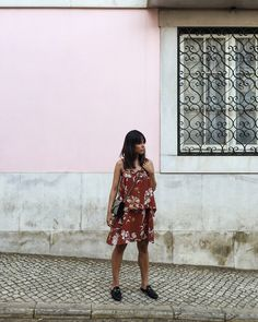 Our Summer Outfits in Lisbon: Wearing a flower printed dress, Gucci Princetown slipper and Gucci Dionysus GG Supreme Mini Bag