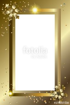 Vector: Vector Gold luxury Christmas greeting card decorated with snowflakes and confetti, copy spsce for text. Festive border decoration.
