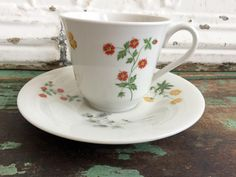 Vintage Teacup Tea Cup and Saucer Royal Doulton Springtime Flowers English Bone China by Holliezhobbiez on Etsy