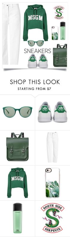 """White green sneakers"" by buddahbar ❤ liked on Polyvore featuring Prada, adidas Originals, The Cambridge Satchel Company, Vince, MSGM, Casetify and MAC Cosmetics"