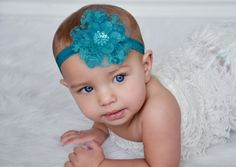 Hey, I found this really awesome Etsy listing at https://www.etsy.com/listing/87313151/teal-baby-headband-teal-flower-headband