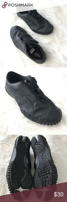 All black Puma Mostro Perf leather shoe Velcro 9.5 Great condition. Shows some signs of wear. Women's Size 9.5. Puma mostro velcro shoes. All black mostly leather. Very comfy. Puma Shoes Athletic Shoes