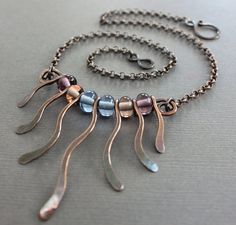 Wavy fringe copper necklace with multicolored by IngoDesign