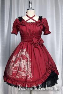 un chateau secret robe (wine red x gold) - Enchantlic Enchantilly $264  Bust 76~100cm   Waist 60~90cm