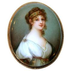 Check out this item at One Kings Lane! Antique 14K Hand-Painted Portrait Brooch