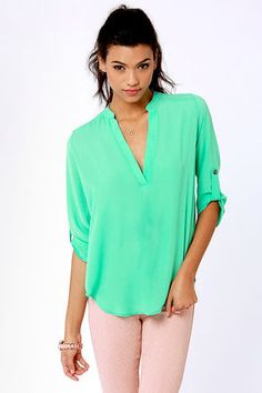 V-sionary Mint Green Top at #Lulu's