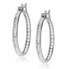 Journee Collection Sterling 1/2 ct Diamond TDW Round Cut Pave Hoop Earrings, Women's