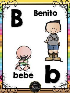 Abecedario nombres propios (3) Alphabet Activities, Educational Activities, Activities For Kids, Picture Boards, Spanish Lessons, Alphabet And Numbers, Speech And Language, Pre School, Classroom Decor