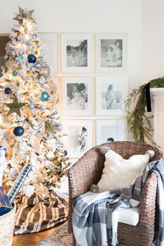 Christmas Decorating Blue and White Christmas Tree Coastal Christmas Coastal Christmas, Christmas Home, Christmas Lights, Christmas Holidays, Christmas Decorations, White Christmas, Christmas Trees, Holiday Decorating, Christmas Crafts