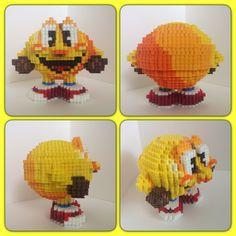 3D Pac-Man perler beads by eightbitbert