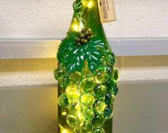 Green Wine Bottle Light, Night Light, Bottle Lamp, Grapes Design, Wine Decor, Hostess Gift