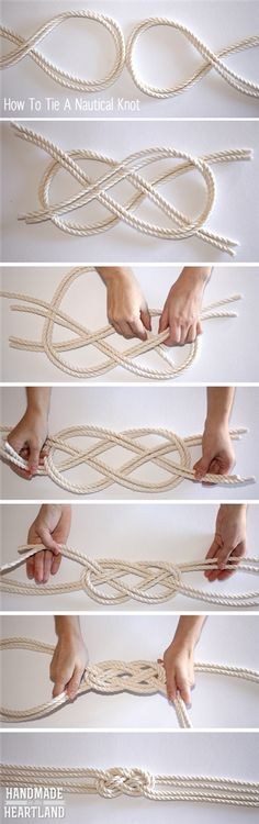 DIY Nautical Knot Rope Necklace Could be used for a bracelet or belt also: knots how to tie NonSoloRiciclo: il portale sul fai da te, il riciclo creativo e molto altro. Diy Jewelry, Jewelery, Jewelry Making, Jewellery Box, Jewellery Shops, Jewelry Storage, Gold Jewelry, Nautical Knots, Nautical Theme