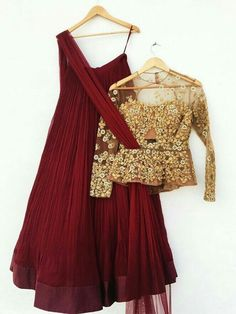 Maroon Georgette New Style Lehenga Choli ,Indian Dresses - 1 Blouse Lehenga, Lehenga Choli, Red Lehenga, Pakistani Dresses, Indian Dresses, Indian Outfits, Lehenga Designs, Latest Lehnga Designs, Indian Attire