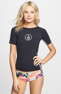 Volcom Stripe Panel Short Sleeve Rashguard (Juniors) available at Summer Wear, Summer Outfits, Cute Outfits, Bikinis, Swimsuits, Ck Calvin Klein, Elegantes Outfit, Summer Swimwear, Rash Guard