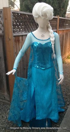 Elsa Frozen Sparkly Snow Queen Version B Adult Costume Custom Made