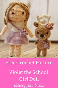 Get the free crochet doll pattern to make the adorable Violet the Schoolgirl doll by our featured Maker Craftings of Joules! #amigurumidoll #amigurumifreepattern #freeamigurumipattern
