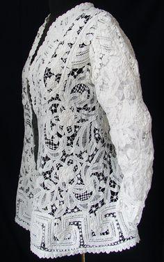 Maria Niforos - Fine Antique Lace, Linens & Textiles : Antique Edwardian & Victorian Clothing # CL-50 Lovely Edwardian Battenburg Lace Jacket