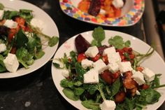 Warm Winter Salad - Roast beetroot, parsnip and sweet potato with spinach greens, feta and pomegranate