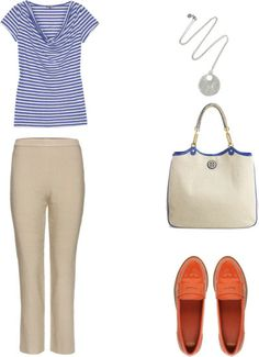 Quick non frumpy for errands.  Striped top, flat front pants, easy pendant, bright flats, lightweight tote.
