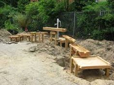 Love this example of wooden, multi level water play. This arc arrangement works well along the border of a playspace.
