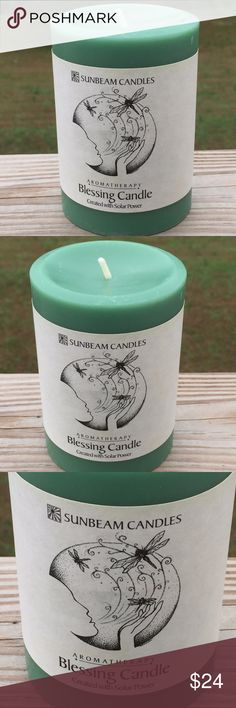 """Blessing Candle 3x4 Pillar Sage Ginger Lemongrass Blessing Aromatherapy Candle - Lemongrass, Sage, & Ginger. Beeswax and Non-GMO Soy blend - Paraffin free. Size: 3"""" x 4"""" h, with cotton wick. Burn Time: 60 hours in a tight fitting container, faster if burned on an open candle plate. Magickal Uses: Blessing and Clearing. 100% pure beeswax, Non-GMO soy wax and the essential oils of Lemongrass, Sage, and Ginger. Sunbeam Candles Other"""