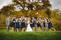 gray, navy and touch of pink wedding colors. This is exactly what I'm going for with the guys in gray!
