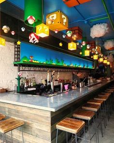 Mario-Themed Bar Just Opened And It's Every Geek's Dream Come True Super Mario fans, rejoice! A new bar just opened in Washington D. and it's awesome. Bar Geek, Deco Gamer, Arcade Room, Game Cafe, Video Game Rooms, Video Game Bar, Video Game Decor, Basement Bar Designs, Game Room Design