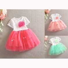 New Fashion Elegant Girl Baby Kids Summer Lace Flower Princess Dress Tulle Skirt #Unbranded #Casual