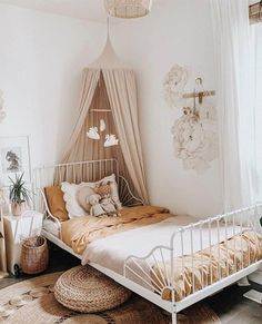 Kids room décor inspiration: a contrast of soft colours, capturing natural light beautifully, and bringing serenity to the whole space. Featuring our canopy and heart cushion. Kids Room Design, Baby Room Decor, Bedroom Decor, Nursery Decor, Little Girl Rooms, Kid Spaces, Girls Bedroom, Small Bedrooms, Girl Nursery