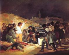 1. Third of May 2. Goya 3. 1808 Romanticism 4. Oil on Canvas 5/6Museo del Prado Madrid 8.May 3rd execution of spanish citizens 9. sensationalizing of current event loose brushwrok and theatrical lighting