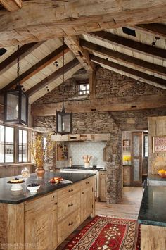 I love the rustic look of a wood and stone kitchen. I love the rustic look of a wood and stone kitchen. Rustic Kitchen Design, Kitchen Wood, Country Kitchen, Rustic House Design, Cabin Design, Kitchen Walls, Kitchen Living, Kitchen Cabinets, Log House Kitchen