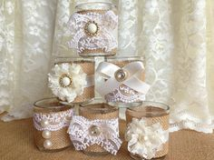 burlap and lace 10 hour tea candles perfect for  weeding decoration, bridal shower decoration wooow
