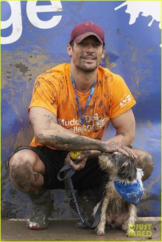 David Gandy Gets Down & Dirty in the Mud with His Cute Pup Dora