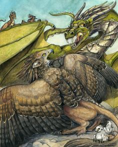 Mother's Love by windfalcon.deviantart.com on @DeviantArt - A gryphon and dragon prepare to battle, but not over food or resources...these two beasts face off to protect something much more precious