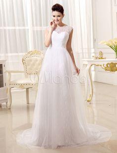 A linha jóia chique tribunal trem pescoço vestido de casamento branco para noiva - Milanoo.com