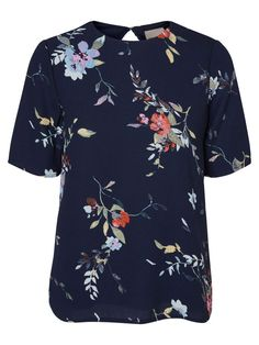 Floral blouse from VERO MODA. Style with leather jeans and a bomber for a cool autumn look.