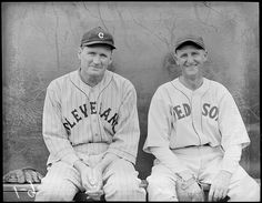 1934-  Cleveland Indians manager Walter Johnson and Boston Red Sox pitcher Herb Pennock.