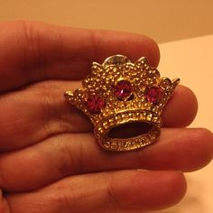 Vintage PINK Rhinestone CROWN LAPEL PIN Gold Tone Tac Costume Jewelry