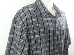 Fieldmaster Mens Black Gray Plaid Short Sleeve Linen Cotton Shirt Large L