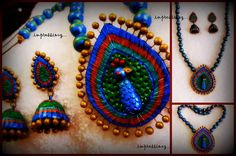 Its a handmade necklace set in polymer clay. Its an exclusive jewelry set.