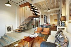 Stairs, floor, and high ceiling