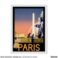 af59a13a3b0 Paris fountain vintage travel poster - Comfy Moisture-Wicking Sport Tank  Tops By Talented Fashion