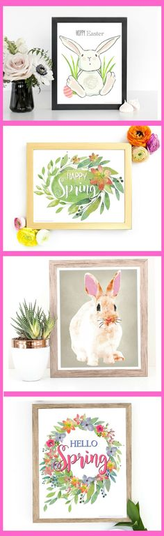 Spring Home Decor And Easter Printables Beautiful Colors Perfect Inexpensive Wall Art