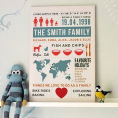 personalised family infographic canvas print by oakdene designs   notonthehighstreet.com