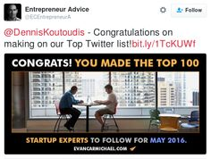 Much appreciated! http://www.evancarmichael.com/library/evan-carmichael2/May-2016-Top-100-Startup-Experts-to-Follow-on-Twitter.html #startup #entrepreneur