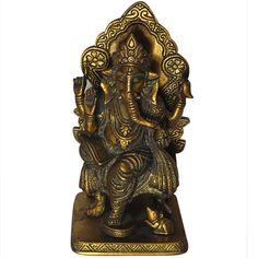 Spiritual Gift Brass Sculpture Lord Ganesha Sitting on Sihasan for Worship Statue
