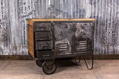 METAL AND RECLAIMED TIMBER WAITER STATION STORAGE UNIT GREY INDUSTRIAL TROLLEY | eBay